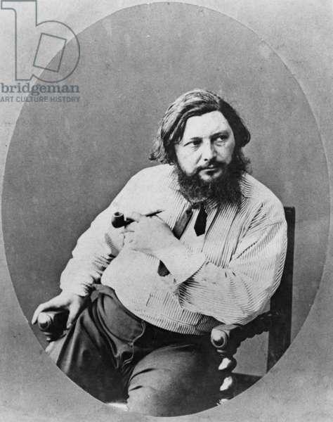 Portrait of Gustave Courbet, c.1870s (b/w photo)