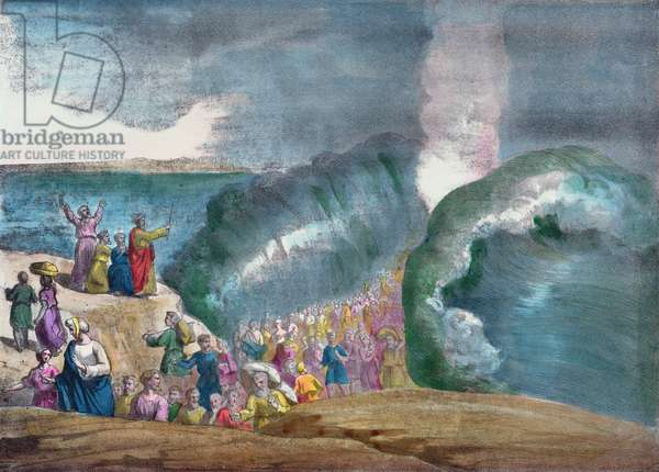 Moses crossing the Red Sea (colour engraving)