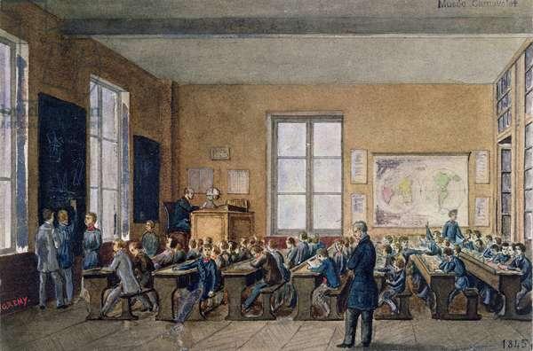 Classroom at the Institution Caillet, rue de la Cite, Paris, 1845 (w/c on paper)