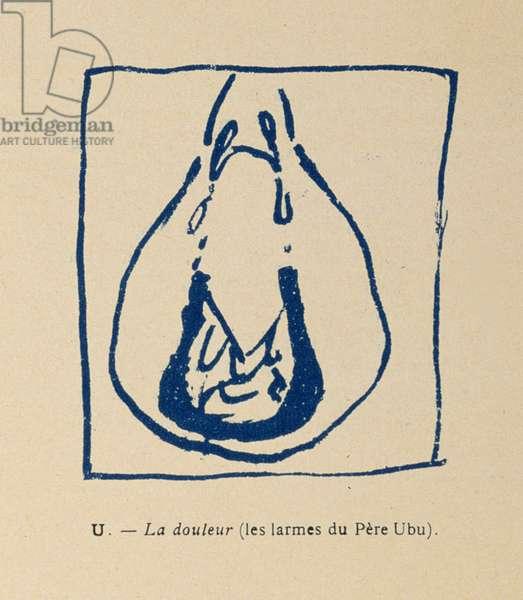 Sorrow - Pere Ubu's tears, from the Alphabet of Pere Ubu, 1900 (colour litho)