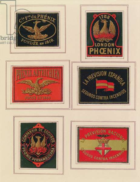 Selection of plaques for insurance companies (painted metal)