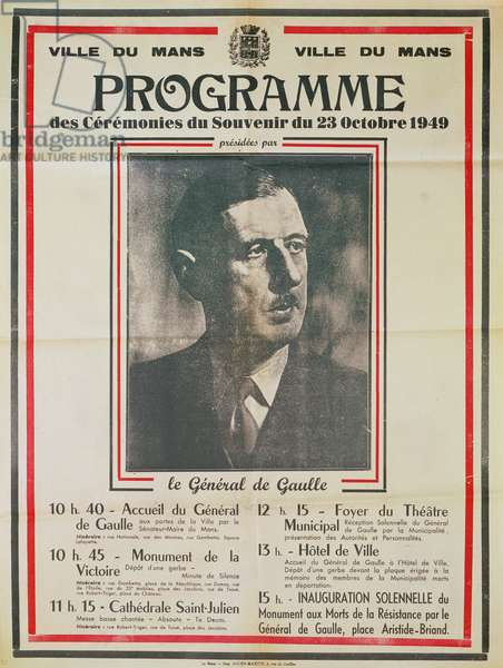 Poster for a thanksgiving ceremony for Charles de Gaulle (1890-1970) at Le Mans, 1949 (litho)