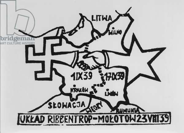 Pamphlet about the Molotov-Ribbentrop Pact, signed 23rd August 1939 which divided Poland (engraving) (b/w photo)