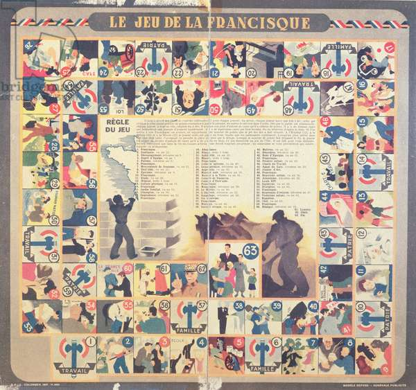 'Le Jeu de la Francisque', pro-Vichy children's board game, after 1941 (colour litho)