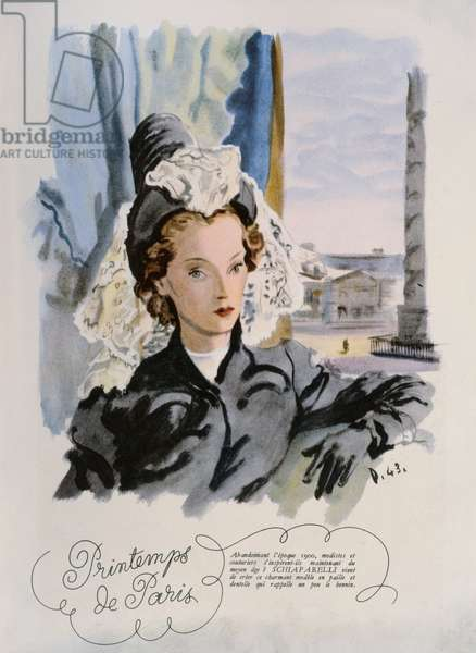 A Schiaparelli hat design, from a series entitled 'Printemps de Paris' in 'Plaisir de France' magazine, March 1943 (colour litho)