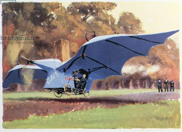 The 1st Flight of Clement Ader in the aircraft 'Eole' on October 9th 1890 at the Chateau of Armainvilliers, from 'Histoire d'Aviation' by Rene Chambre, 1948 (colour litho)