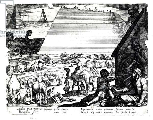 The Construction of the Pyramids (engraving) (b/w photo)
