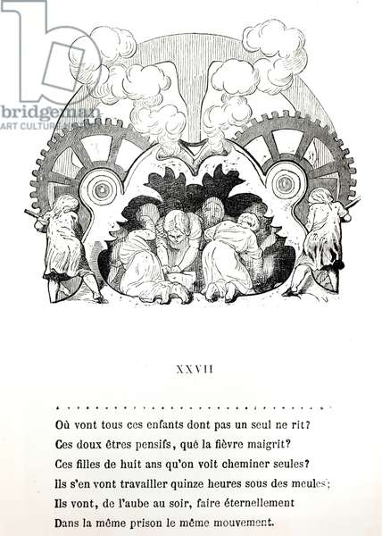 Illustration for a poem on child labour by Victor Hugo (1802-85) c.1880, published by Hetzel (engraving) (b/w photo)