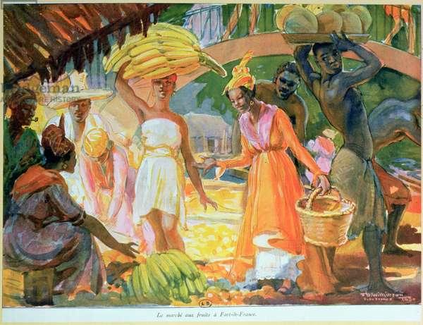 The Fruit Market at Fort-de-France, Martinique, 1930 (colour litho)