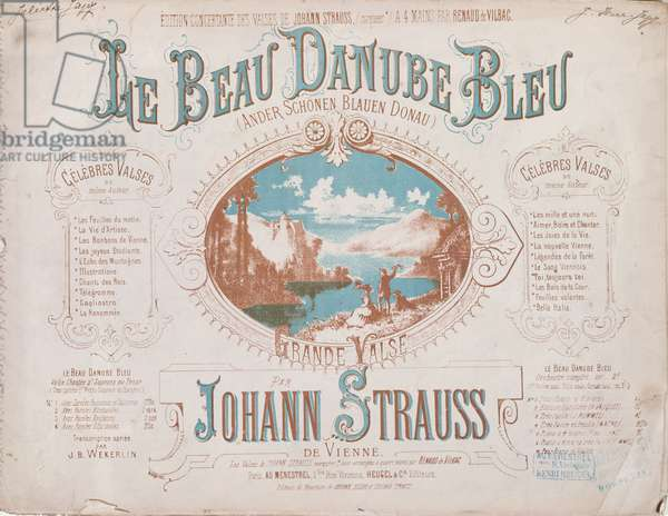 Cover for the score of the Blue Danube Waltz (colour litho)