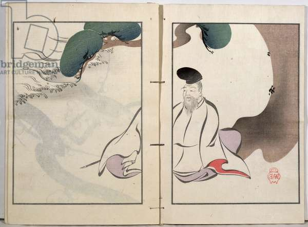 An Old Man Meditating, from a collection of the artist's work published by Kobyashi Bunscichi in 1901 (colour woodblock print)
