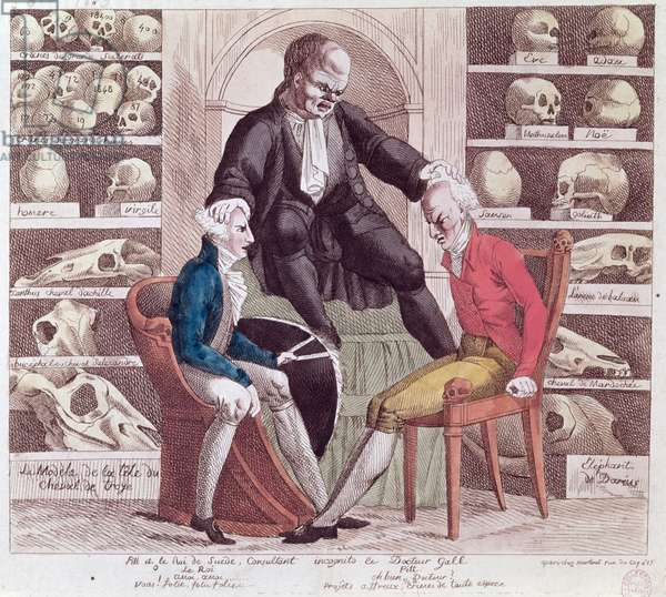 Caricature of William Pitt the Younger (1759-1806) and Gustav IV Adolf (1778-1837) Visiting Sr. Franz Joseph Gall (1758-1828) 1806 (coloured engraving)