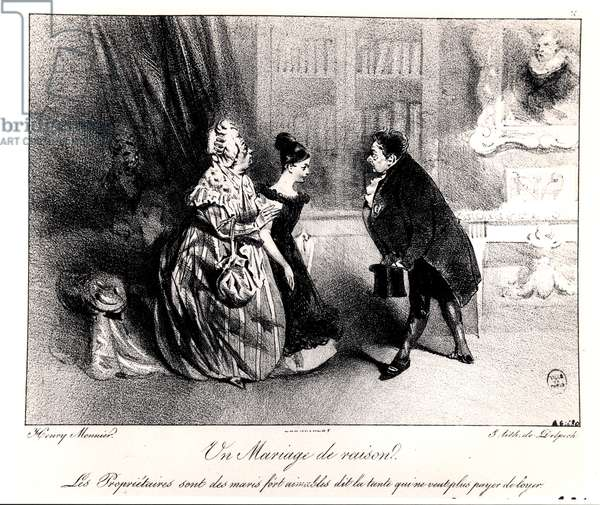 A Marriage of Convenience, c. 1840 (litho) (b/w photo)