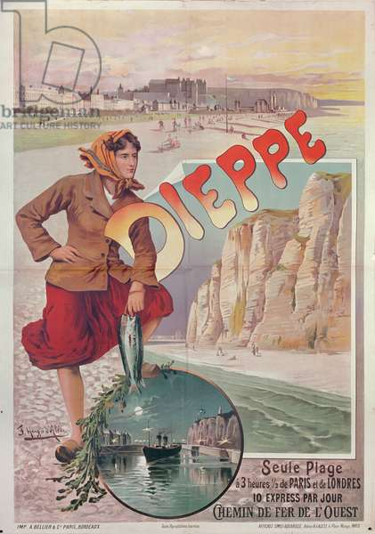 French Railways poster advertising the attractions of Dieppe, c.1896 (colour litho)