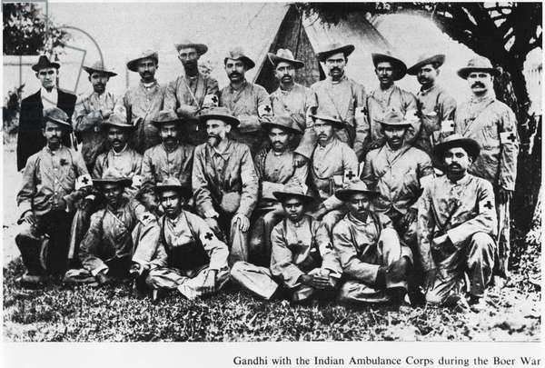 Mahatma Gandhi (1869-1948) with the Indian Ambulance Corps during the Boer War, South Africa, 1899 (b/w photo)