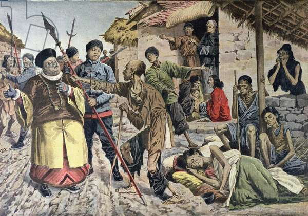 Famine in China, illustration from 'Le Petit Journal', 1907 (colour litho)