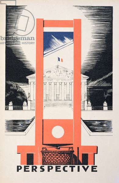 'Perspective', the Guillotine facing the National Assembly, illustration from 'Parlons Francais' by Paul Iribe (1883-1935), published by Editions Floury, Paris 1934 (colour litho)