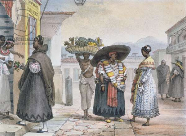 Free Negresses earning a living from their work, from 'Voyage Pittoresque et Historique au Bresil', 1839 (colour engraving)