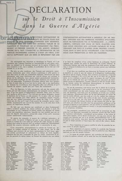 Manifesto signed in 1960 by 121 French intellectuals, writers and artists concerning the right to civil disobedience in the Algerian war, published in 'Verite-Liberte', issue 4, September/October 1960 (pen & ink on paper)