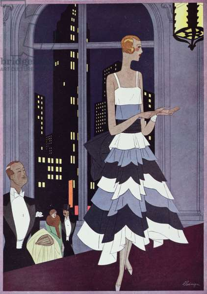 Under the Eyes of New York Skyscrapers, fashion plate form 'Femina' magazine, December 1928 (colour litho)