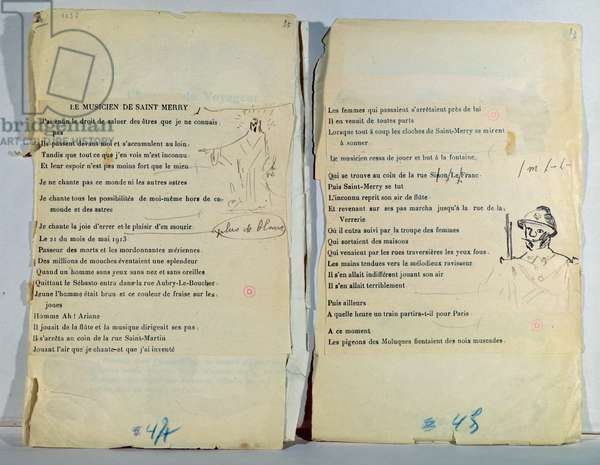 Annotated and illustrated copy of 'Le Musicien de Saint Merry' (pen & ink on paper)