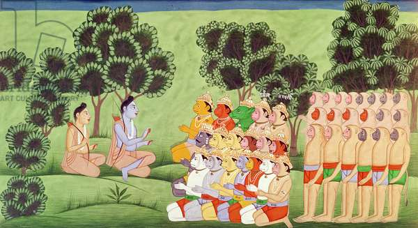 Lakshmana Consulting the Heads of the Monkey Armies, from the Ramayana (gouache on paper)