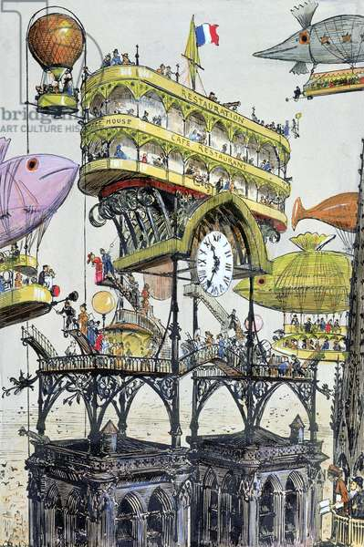 Central aircraft station at Notre-Dame (Paris), illustration from 'Le XXeme siecle, La Vie Electrique', c. 1890 (colour engraving)