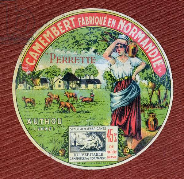 Label for 'Le Perrette Camembert', made in Authou, Normandy (colour litho)
