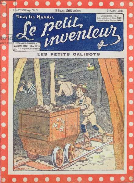 Children Working in the Mines in the North of France, cover illustration for 'Le Petit Inventeur', 1923 (colour litho)