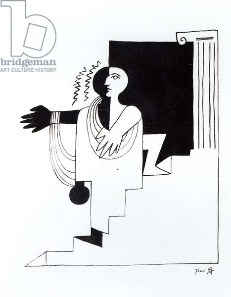 Illustration for the play 'La Machine Infernale' by Jean Cocteau (1889-1963) published Paris (pen & ink on paper) (b/w photo)
