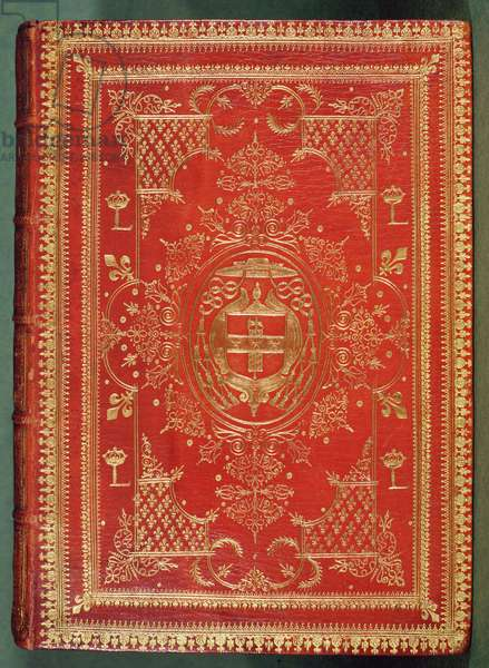 Cover of a book owned by Cardinal Mazarin, with the finishing showing the cardinal's arms of stars and fasces, surmounted by the galero hat and tassels of a cardinal (leather & gilding)