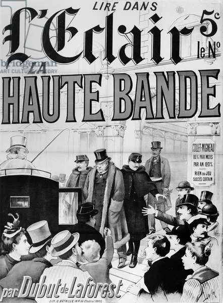 Poster advertising the novel 'La Haute Bande' dealing with the Panama Affair, c. 1892-95 (litho) (b/w photo)