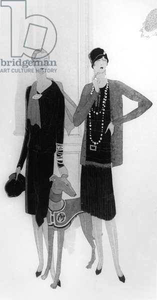 Dress designs by Chanel, illustration from 'Vogue' magazine, 1 April, 1927 (litho)