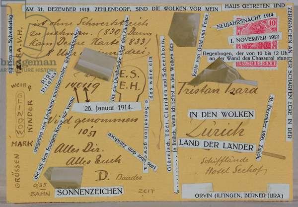 Postcard sent to Tristan Tzara (1896-1963) (collage)