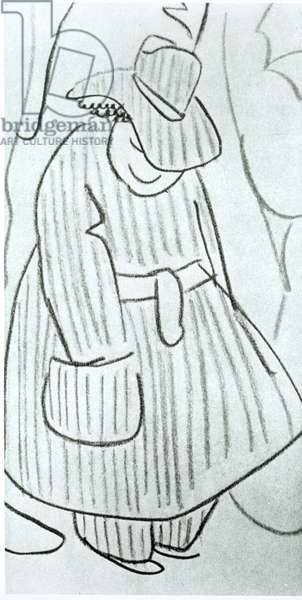Self Portrait, from 'Serge Eisenstein, Reflexions d'un Cineaste', published in Moscow, 1958 (pencil on paper) (b/w photo)
