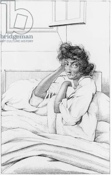 Depressive woman, illustration from 'Des Maladies Mentales considerees sous le rapport medical, hygienique et medico-legal' by Etienne Esquirol (1772-1840) 1838 (engraving) (b/w photo)