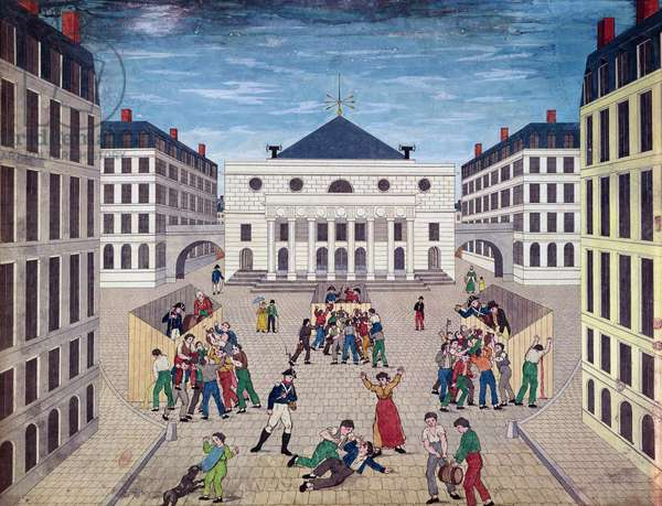 Distribution of wine in Place de l'Odeon in Paris, c.1805-10 (w/c on paper)
