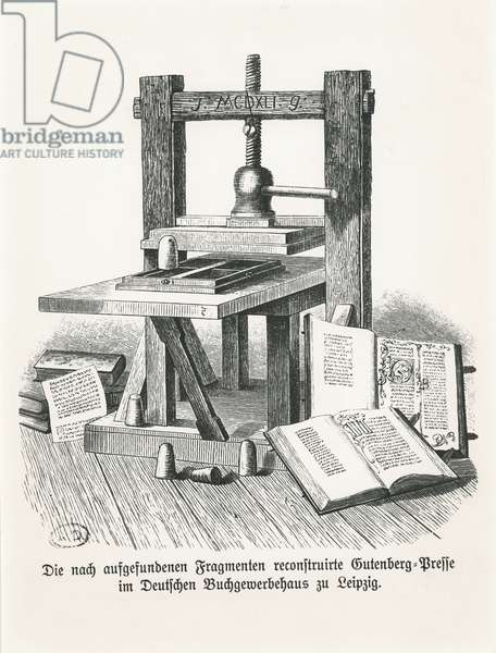 Gutenberg's press, reconstructed, and housed in the Deutsche Buchgewerbehaus at Leipzig, Germany (engraving)
