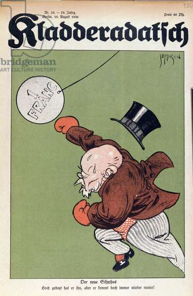 'The New Sisyphus', caricature of Raymond Poincare (1860-1934) from the front cover of 'Kladderadatsch' magazine, 1926 (colour litho)