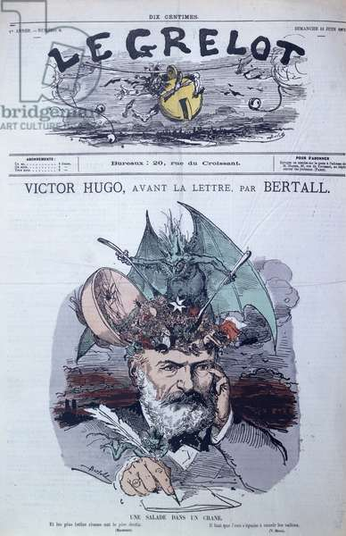 'Brain Salad', caricature of Victor Hugo (1802-85) from the front cover of 'Le Grelot', June 1871 (colour litho)