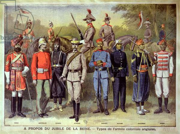English colonial armies in their respective uniforms in celebration of the Jubilee of Queen Victoria, 21 June 1883, illustration from 'Le Petit Journal', 1899 (colour litho)