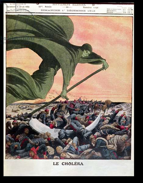 The First War of the Balkans: Cholera Epidemic, from 'Le Petit Journal', 1st December 1912 (colour litho)