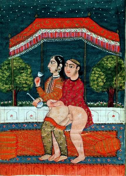 Erotic Scene (gouache on paper)