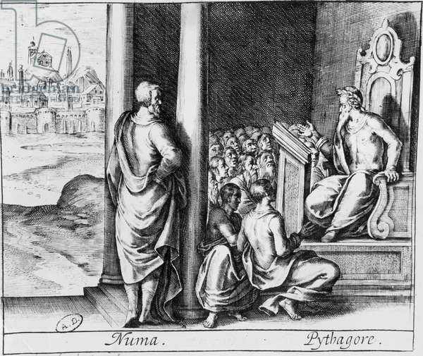 Pythagoras (c.570-480 BC) teaching a class of students, illustration from Ovid's 'Metamorphoses' (engraving) (photo)