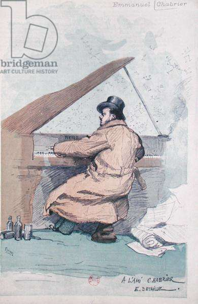 Emmanuel Chabrier (1841-94) at the piano (coloured engraving)
