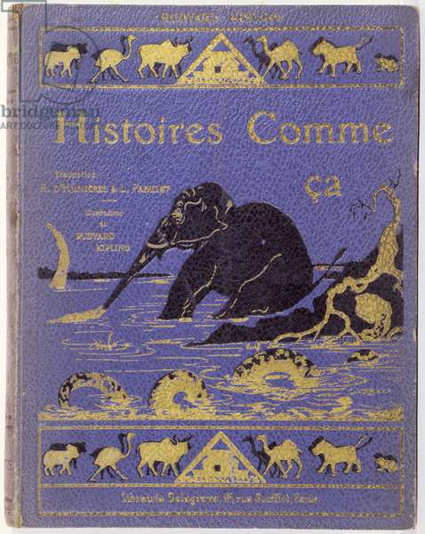 Cover of Kipling's 'Histoires Comme Ca' by Rudyard Kipling (1865-1936), published in Paris by Delagrave in 1946  (colour litho)