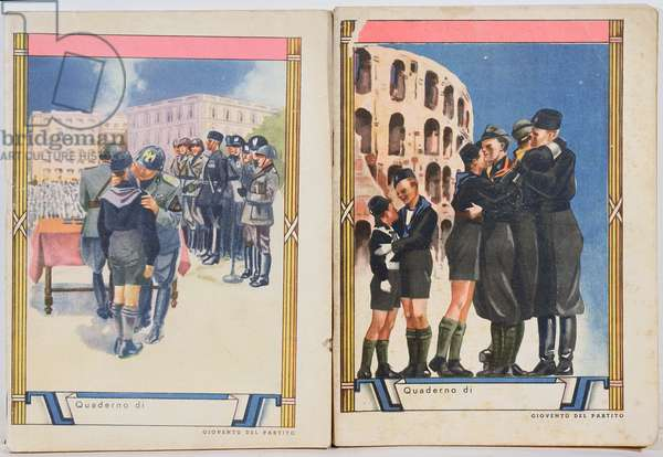 Covers of school exercise books depicting Il Duce, Benito Mussolini (1883-1945) with young fascists and fascist youth in front of the Colosseum, 1939 (colour litho)