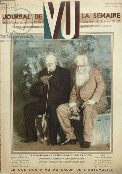 Sacha Guitry (1885-1957) acting as Claude Monet (1840-1926) and Jean Perier as Georges Clemenceau (1841-1929) in a scene from 'Histoires de France', from 'Vu' magazine, 16th october 1919 (colour litho)