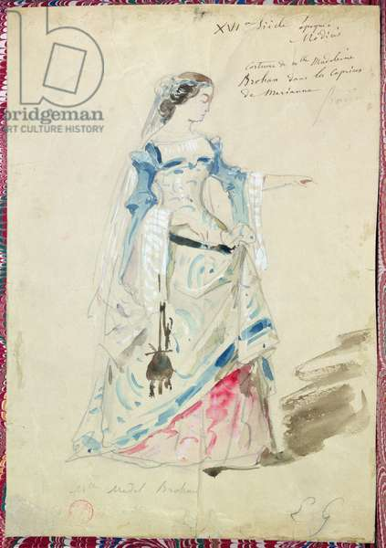 Costume design for Mlle Madeleine Brohant (1833-1900) for the role of Marianne in 'Les Caprices de Marianne' by Alfred de Musset (1810-57) 1851 (w/c on paper)