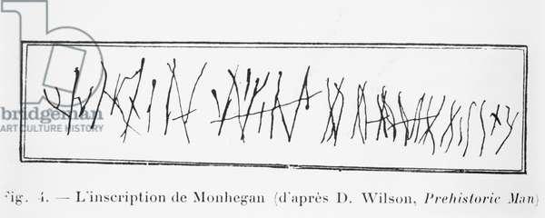 Inscription of Monhegan, illustration from 'Manuel d'Archeologie Americaine' by H. Beuchat, Paris, 1912 (pen & ink on paper) (b/w photo)
